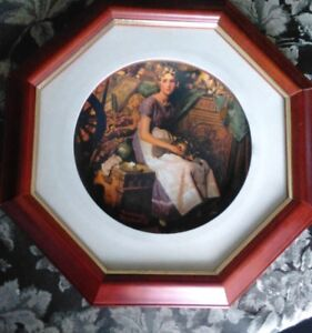 NORMAN ROCKWELL FRAMED CHINA PLATE - DREAMS IN THE ATTIC