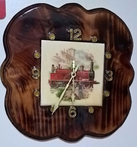 Vintage Lacquered Wooden Wall Clock with Ceramic Tile Center