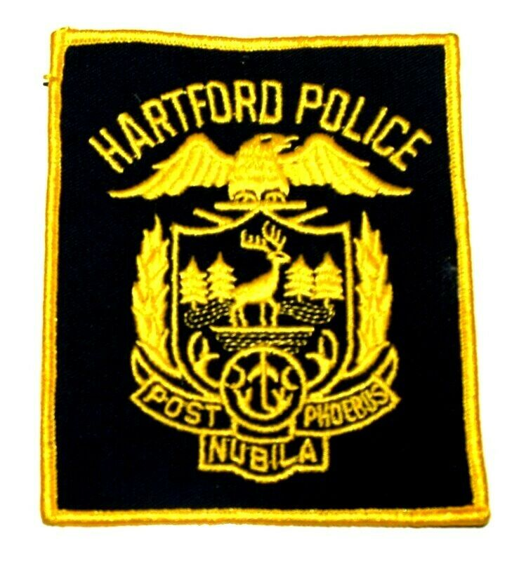 HARTFORD CONNECTICUT CT Sheriff Police Patch CITY SEAL CAPITAL CITY BLACK USED ~