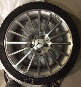 "GENUINE Mercedes Benz AMG 18"", 16-spoke wheels on snow tires Kitchener / Waterloo Kitchener Area image 3"