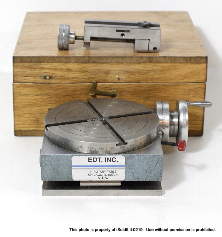 """4"""" Machining ANGLE ROTARY TABLE 4x4 from EDTTCO MFG CO w/  VISE & CASE"""