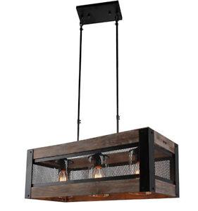 Wood Rectangular Chandelier Pendant lampe Luminaire Suspendu