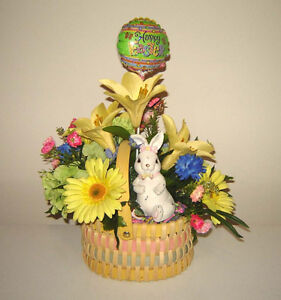 Easter Things - some New - Silk Bouquet, Bunnies, Easter Pot