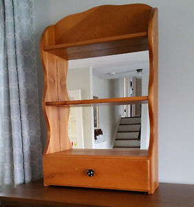 Mirrored Pine Shelf with drawer