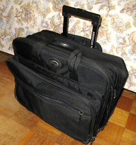 Large Black Nylon Material Laptop Briefcase on Wheels