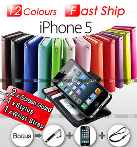 NEW Premium Leather Stand Wallet Flip Case Cover For iPhone5 iPhone 5 5G 5TH GEN
