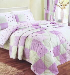PATCHWORK QUILTED FLORAL BEDSPREAD SINGLE DOUBLE KING PINK BLUE GREEN LILAC