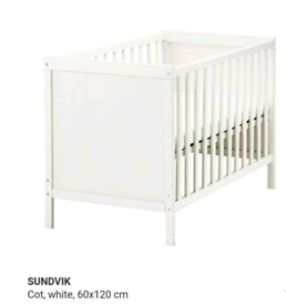 Ikea white baby cot including mattress