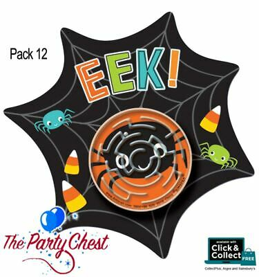 Halloween Games Spider Web Maze (12 HALLOWEEN SPIDER WEB CARDS WITH MAZE PUZZLE Trick or Treat Party Bag)
