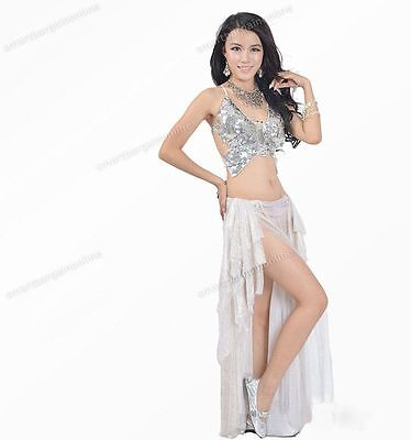 Silver Sexy Womens Adjustable Belly Dance Costume Butterfly Sequin Top Bra-AD ()