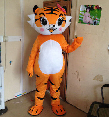 Cosplay Tiger Mascot Costumes Animals halloween Party Dress Cartoon Adult Size A (Halloween Costumes Tiger)