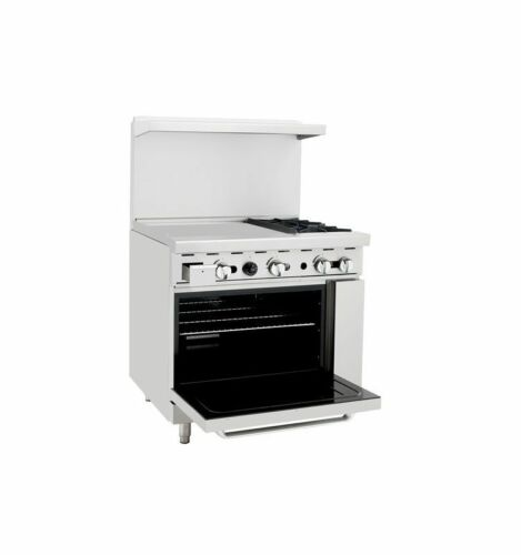 "Atosa Ato-2b24g 36"" Gas Range 2 Open Burners & 24"" Griddle W/ One 26"