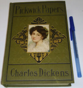 c1891 Charles Dickens Pickwick Papers Antique Old Book Hi Grade
