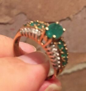 Emerald Diamond and Gold Ring