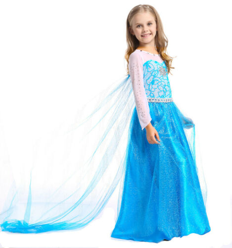 Elsa Dress Frozen Inspired Princess Dress Up Costume for Gir