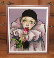 Needlepoint PIERROT Framed Picture - Clown with Rose City of Montréal Greater Montréal Preview