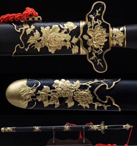 DAMASCUS FOLDED STEEL HANDMADE FULL TANG BLADE MU DAN SAYA CHINESE SWORD
