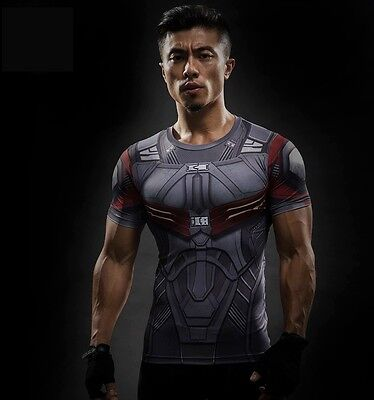 New Men's T-shirt Short Sleeve 3D Printed Superhero Sports Running Tops - Superhero Running Clothes