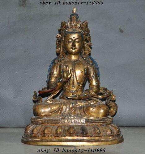 Old Tibet Buddhism Bronze Gilt Turquoise Goddess Kwan-yin Guanyin Buddha Statue