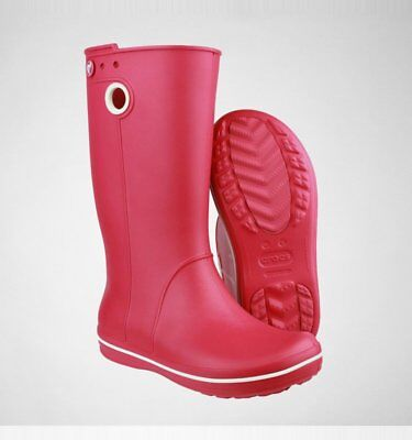Crocs Crocband Jaunt Pink Womens Wellington Boots, Raspberry, size US W5, UK3