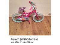 Girls 16 inch Barbie bike