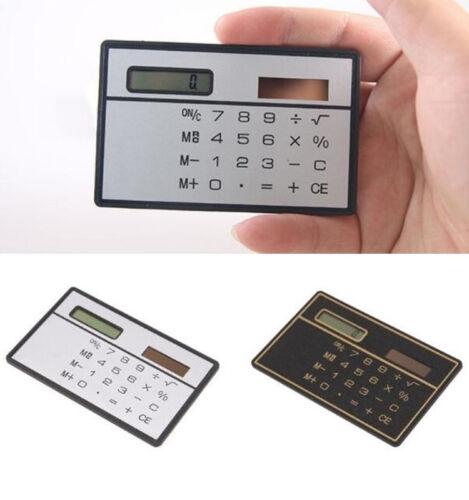Hot 8 Digits Ultra Thin Mini Slim Credit Card Size Solar Power Pocket Calculator