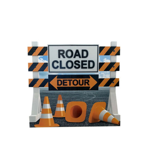 ROAD CLOSED DETOUR SIGN - LIFE SIZE STANDUP/CUTOUT BRAND NEW - PARTY 3036