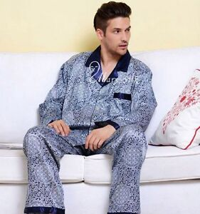 Mens-Silk-Pajamas-Sleepwear-PJS-Set-U-S-S-M-L-XL-XXL-3XL-Pants-Long-Sleeves-Blue