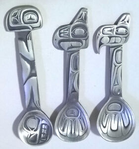 Pewter Native Indian Thunderbird, Frog & Raven Totem Pole Spoons