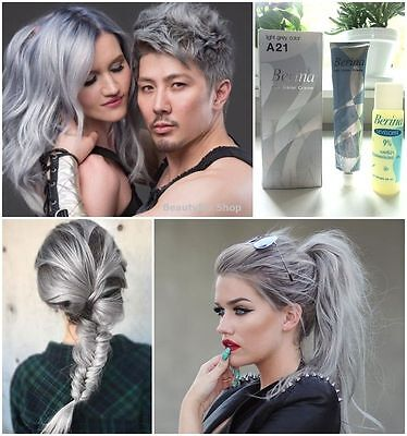Best A21 Light Grey Silver Smokey Color Permanent Hair Dye Cream Punk Style