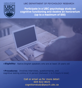 Seeking Participants for UBC Psychology Study- Earn up to $50!