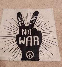 Make love not war cushion cover