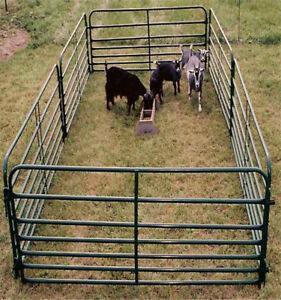Heavy duty livestock fence panels and gates in galvanized finish
