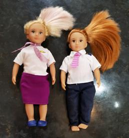 "Lori dolls, Auri stewardess and lori the pilot. 6"" tall. £8 for both S"