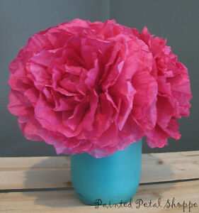 Fuchsia Coffee Filter Peony Arrangement/Rustic Wedding Decor Belleville Belleville Area image 2