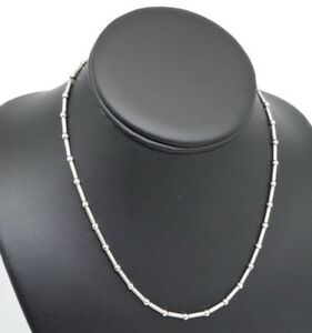 14K White Gold Bar & Bead Link Chain
