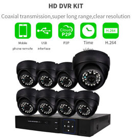 CCTV 720P kit 8CH DVR +1TB HDD 8X Dome Cameras Outdoor HD Quality Night Vision