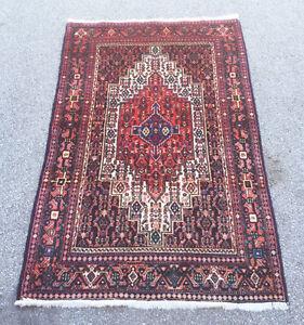 602: Stunning Persian Bijjar Rug With Creams, Red Blacks