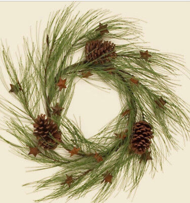 "LONG PINE NEEDLE 19"" WINTER WREATH With LARGE PINECONES & RUSTY (Pine Winter Needles)"