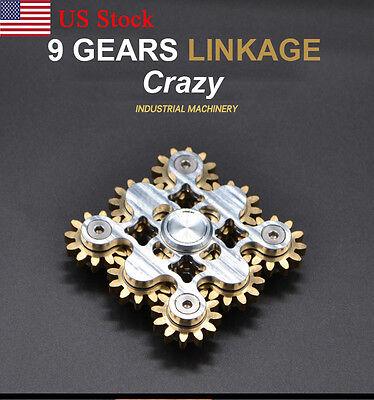 (US Nine Gear Linkage Rotate Copper Fidget Brass Hand Spinner Torqbar Finger Toy)