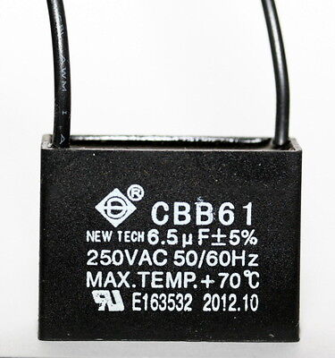 Ceiling Fan Capacitor Cbb61 6.5uf 2 Wire
