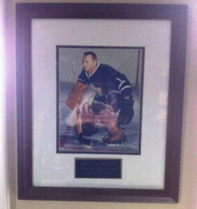 Signed Johnny Bower framed picture
