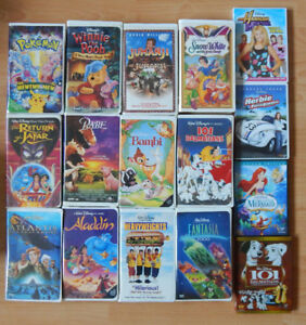 LOT OF 90 VHS MOVIES, CLASSIC DISNEY KIDS, + 4 BONUS DVD'S