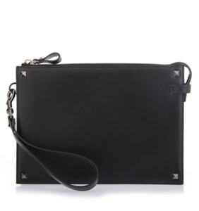 Mens Valentino RockStud Black Leather Pouch