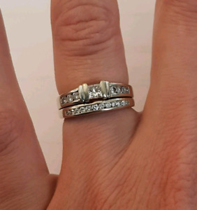 Ben Moss size 6.5 Multi diamond engagement and wedding ring set