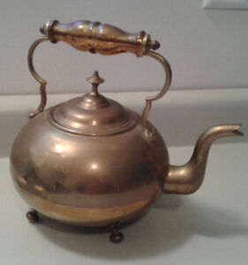 Antique Brass Scottish Toddy Kettle with Amber Glass Handle