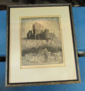Dry Point Etching- Canadian Malte Sterner (1903-1952) - Chateau