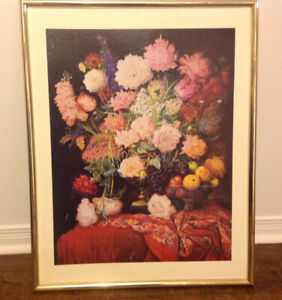 """Fruits & Flowers Fiesta Picture In Gold Colored Frame, 22""""x 28"""""""