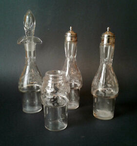 Four Antique Etched Crystal Cruet Bottles - Partial Set
