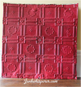 Vintage 1925 Tin Ceiling Tile - Painted Red